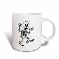 3dRose happy skeleton walking hands up halloween , Ceramic Mug, 15-ounce