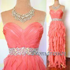2014 cute sweetheart orange chiffon long prom dress  for teens, ball gown, beaded winter formal #promdress