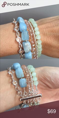 "Gemstone & Swarovski Crystal multi strand bracelet Stunning one of a kind bracelet by Julie's Bead Boutique! Multi strand bracelet with genuine Aquamarine gemstones and Swarovski crystals. Beautiful pastel colors. 7"" length with slide clasp Jewelry Bracelets"