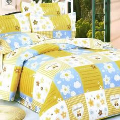 Blancho Bedding - [Yellow Countryside] Luxury 5PC Bed In A Bag Combo 300GSM (Twin Size) by Blancho Bed in a bag. $152.97. This combo combines a duvet cover set, a down-alternative comforter and two pillows(one for Twin).. Shrinkproof, anti-pilling and fading proof processes; 14 inches pocket size of the fitted sheet.. Twin size comforter measures 67 by 87 inches with 40 oz hypo-allergenic breathable filling.. Twin size contains a pillow sham, a fitted sheet, a duvet...