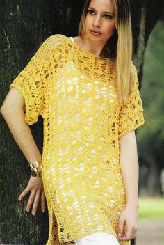 Crochet Blusas Patterns Long crochet tunic pattern for women, great summer top. Free crochet pattern More Patterns Like This! - Long crochet tunic pattern for women, great summer top. Free crochet pattern More Patterns Like This! Tunic Dress Patterns, Crochet Tunic Pattern, Crochet Poncho, Crochet Patterns, Crochet Vests, Crochet Diagram, Crochet T Shirts, Crochet Blouse, Crochet Clothes