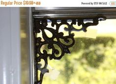CountnrCabin Window Corner Treatment,Cast Iron Spiderweb Shelf Brackets B-7 8