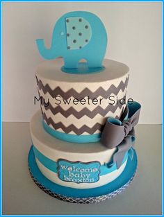 Elephant and Chevron baby shower cake