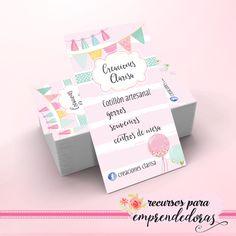 Diseño de tarjeta personal para decoradora, artesana cotillón / Recursos para emprendedoras Bakery Business Cards, Art Business Cards, Business Card Design, Stationery Design, Branding Design, Label Design, Lipsense Business Cards, Elephant Party, Calling Cards