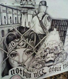 Love this drawing its that gangsta pinta love Chicano Art Tattoos, Chicano Drawings, Body Art Tattoos, Art Drawings, Tattoo Drawings, Hipster Drawings, Arte Lowrider, Chicano Love, Cholo Art
