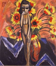Painting by Erich Heckel (1883-1970), 1913, Still Life with Wooden Figure.
