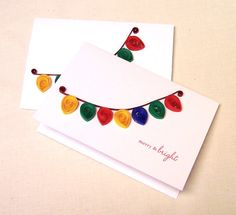 Quilled Christmas Lights Handmade Greeting Cards Set of 2 on Etsy, $8.00