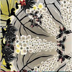 Modern Love Silk Georgette scarf in Oriental Garden