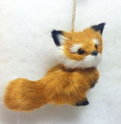 Sitting Red Fox Woodland Animal Christmas Tree Ornament. Faux Fur Fox Ornaments, Christmas Tree Ornaments, Cute Fox, Autumn Art, Red Fox, Woodland Animals, Foxes, Felting, Squirrel