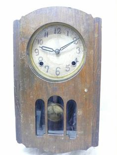 Wall Clock 01 1764 レトロ振り子柱時計メーカ不明小振りアンティーク Watch Antique ¥1280yen 〆10月29日