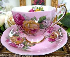 Queen Anne Painted Tea Cup and Saucer