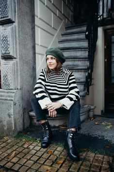 stripes beret and boots on the little magpie blog