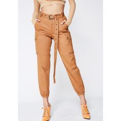 High Waisted Brown Cargo Pants (51 CAD) ❤ liked on Polyvore featuring pants, elastic pants, cargo pants, white high waisted trousers, high waisted cargo pants and white trousers