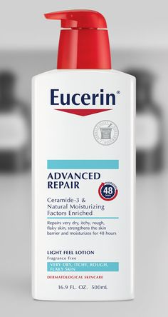 Eucerin Advanced Repair Lotion - not too sticky or greasy - recommended on Dr Oz