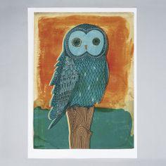 Sweet William - Owl in Blue - Print Online Art, Framed Art Prints, Moose Art, Canvas, Blue, Painting, Animals, Owls, Sweet