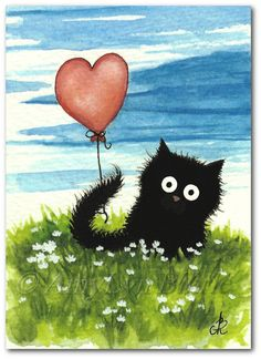 Negro borroso gato rojo corazón San Valentín por AmyLynBihrle