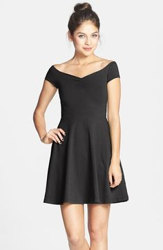 Frenchi® Off-Shoulder Fit & Flare Dress (Juniors) | Nordstrom -- Very tasteful.  Reminds me of ballet costumes I've had in the past.