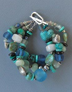 Recycled Glass (Ghana), Turquoise, Green Opals, Mother of Pearl, Tourmaline, Sterling Silver