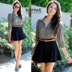 cute circle skirt/shorts (not sure which) and simple button down!