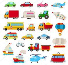 Stáhnout - Sada kreslená auta, vozidla, ostatní doprava na bílém — Stocková ilustrace