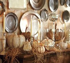 diy faux mercury glass pumpkin pottery barn knock off tutorial, seasonal holiday d cor, Pottery Barn Knock Off Lux for Less Dinner Party Decorations, Harvest Decorations, Fall Mantel Decorations, Thanksgiving Decorations, Halloween Decorations, Thanksgiving Mantle, Autumn Mantel, Fall Mantels, Mantel Ideas