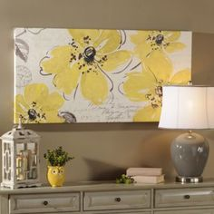 yellow flowers on canvas