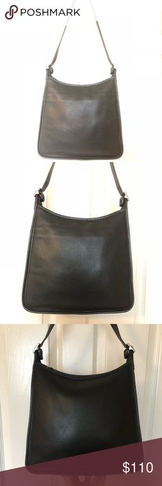 Vintage Coach Andrea Bag 9073 #L9P-9073 Made in Costa Rica in 1999. Black leather with nickel buckles. 11w x 10h x 3d. Cleaned and conditioned thoroughly using Leather Therapy and Skidmore's, no dyes/paint that can crack over time. Ready for another 20 years of use. All my bags are near pristine unless otherwise stated or shown in pix. Like new! Coach Bags Shoulder Bags