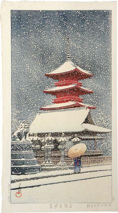 Kawase Hasui (1883-1957): Snow at Tosho Shrine, Ueno, woodblock print, post 1931.