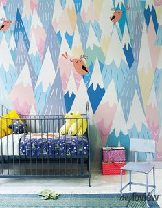 How fun and original! By myloview. Mountains wall mural is the best decor idea for kids: