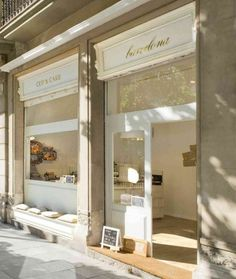 that little sidewalk seating  area = perfection  Cup & Cake Shop Facade - Barcelona, Spain