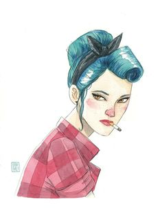 Esther Gili Sketches Of People, Drawing People, Vargas Girls, Rockabilly, Cool Drawings, Drawing Sketches, Rock Art, Art Girl, Character Art
