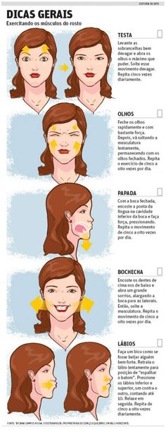 ginástica facial - Bing Imagens Beauty Make Up, Beauty Care, Diy Beauty, Beauty Hacks, Pretty Hurts, Face Exercises, Face Yoga, Facial Massage, Hygiene