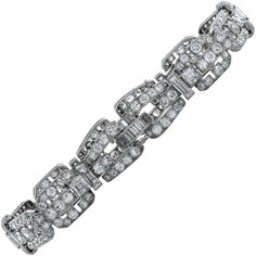 Art Deco Diamond Bracelet | From a unique collection of vintage link bracelets at https://www.1stdibs.com/jewelry/bracelets/link-bracelets/