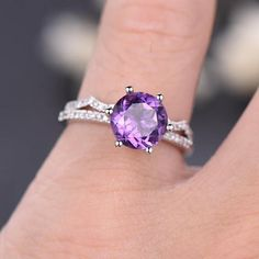 2Pcs Amethyst engagement ring set-Solid 14k White gold-curved diamond ring-Art Deco stacking band-8mm Round cut amethyst promise ring unique - BBBGEM
