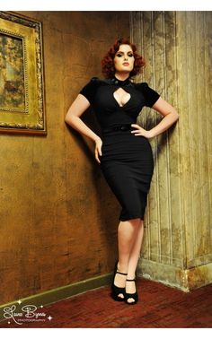 Violet Dress in Black Bengaline with Black Velvet | Pinup Girl Clothing... this may be perfect for NYE