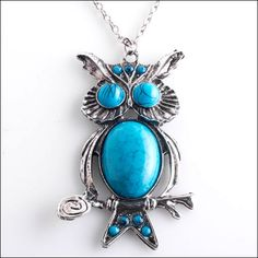 Silver and Turquoise Owl Necklace at Sova-Enterprises.com