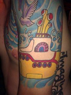 yellow submarine tattoo.so cool Beatles Art, The Beatles, Beatles Tattoos, Yellow Tattoo, John Lennon Paul Mccartney, Yellow Submarine, Concert Posters, Picture Tattoos, Tattoo Inspiration