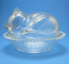 so cute! Sleeping Kitty in Basket Glass Covered Dish by KitschMerchant, $12.00