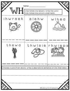 WH Digraph: Unscramble The Word by Kathryn's Kreations | Teachers Pay Teachers