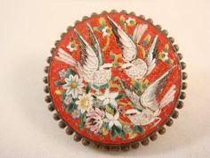 Micro Mosaic Pin/Brooch 3 Birds Signed