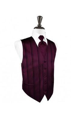 Wine Striped Satin Tuxedo Vest