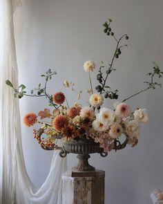 Frida Kim floral arrangement of rust tones and soft cream whites Beautiful Flower Arrangements, Floral Arrangements, Beautiful Flowers, Boho Wedding Flowers, Floral Wedding, Bouquet Wedding, Purple Wedding, Floral Bouquets, Purple Bouquets