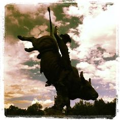 The Lane Frost statue located at the Cheyenne Frontier Days rodeo grounds is one of the coolest statues to see.  My birthday is Dec. 2