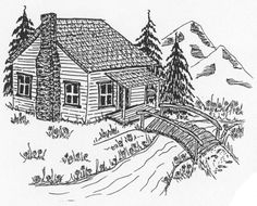 Unmounted Rubber Stamps, Mountain Cabin, Scenic Stamps, Old Log Cabin, Mountains #MyHeartStampsForYou #StampSets