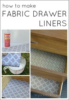 Einfache DIY Fabric Lined Drawers über Hey There, Home Lining Dresser Drawers, Fabric Drawers, Diy Drawers, Furniture Projects, Furniture Makeover, Diy Furniture, Furniture Online, Furniture Design, Reclaimed Furniture