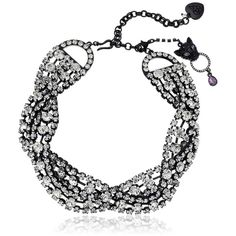 """Betsey Johnson """"Panther"""" Crystal Twisted Choker Necklace ($145) ❤ liked on Polyvore featuring jewelry, necklaces, lobster claw charms, multi-chain necklace, lobster clasp charms, betsey johnson jewelry and betsey johnson necklace"""