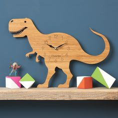 Dinosaur Clock T-Rex Modern Wall Clock Childrens Clock laser cut by Owl & Otter USD) by OwlandOtter Boy Room, Kids Room, Dinosaur Bedroom, Dinosaur Room Decor, Clock For Kids, Forest Theme, Diy Wall Decor, Diy Wall Clocks, Room Themes