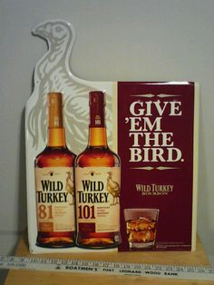 Wild Turkey Bourbon Metal Sign USED But is Good shape Pickers Dream Shaped