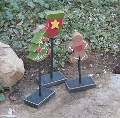 3 Tall Standing CHRISTMAS THEMED Block  SET with by lisabees, $22.95