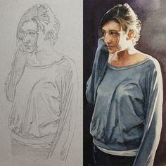 Quarta-feira, antes e depois: esboço x #aquarela #watercolor. No próximo semestre iniciarei um curso de aquarela na Pigmento, confiram no site: http://www.pigmento.net/.